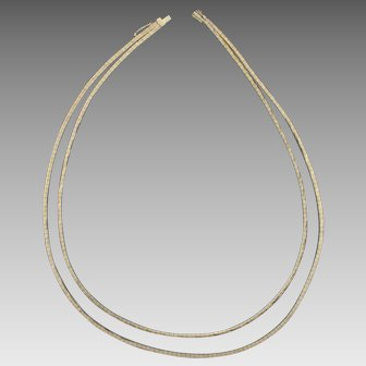 Double Stranded Italian Made Diamond Cut Necklace in 14K Yellow Gold