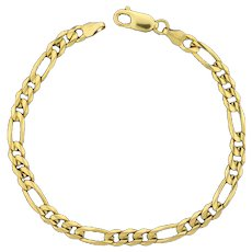 Italian Made Figaro Link Bracelet in 14K Yellow Gold
