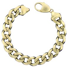 Men's 9 Inch Heavy Curb Link Bracelet in 14K Yellow Gold