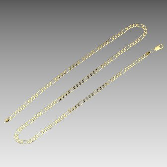 Italian Made 21 1/2 Inch Figaro Link Neck Chain in 14K Yellow Gold
