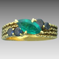 1ct Marquise Chrome Tourmaline and Sapphire Ring in 18K Yellow Gold