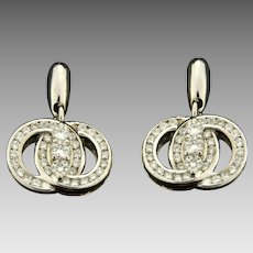 1ct TW Diamond Marriage Symbol Dangle Earrings in 14K White Gold