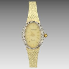 Vintage Women's Geneve Diamond and Sapphire Watch in 14K Yellow Gold