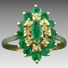 Over 1ct TW Natural Emerald and Diamond Ring in 14K Yellow Gold