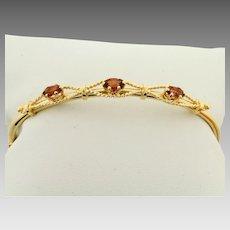 Garnet Bangle Bracelet in 14K Yellow Gold