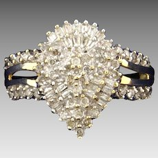 3/4ct TW Round and Baguette Diamond Ring in 10K Yellow Gold