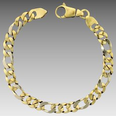 Heavy 8 1/2 Inch Curb Link Bracelet in 14K Yellow and White Gold