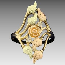 Rose Flower and Nature Design Diamond Ring in 10K Yellow and Rose Gold