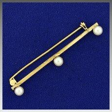 Vintage Three Akoya Pearl Pin in 14K Yellow Gold