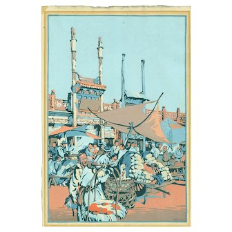 Cyrus Baldridge - Peking Market 1925 - Japanese Woodblock Print