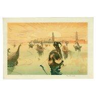 Frank Brangwyn and Yoshijiro Urushibara - Venice, Golden Morning- Japanese Woodblock Print (Wood block print, woodcut)