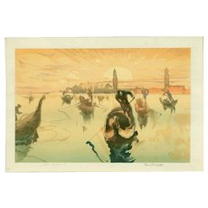 Frank Brangwyn and Yoshijiro Urushibara - Venice, Golden Morning- Japanese Woodblock Print (Wood block print, woodcut)