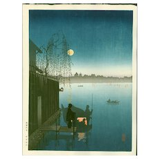 Eijiro Kobayashi - Evening Cool - Hasegawa Night Scene Japanese Woodblock Print (Wood block print, woodcut)