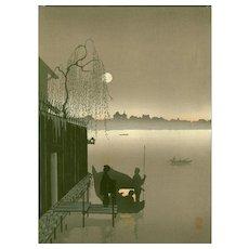Eijiro Kobayashi - Evening Cool (Sepia) - Hasegawa Night Japanese Woodblock Print (Wood block print, woodcut)