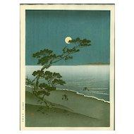 Arai Yoshimune - Suma Beach- Hasegawa Night Scene Japanese Woodblock Print (Wood block print, woodcut)