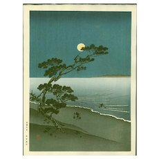 Arai Yoshimune - Suma Beach- Hasegawa Night Scene Japanese Woodblock Print