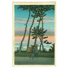 Kawase Hasui - Dusk at Nakaso  - Rare First Edition Japanese Woodblock Print