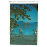 Kawase Hasui - Moonlit Miyajima - First Edition Japanese Woodblock Print (Wood block print, woodcut)
