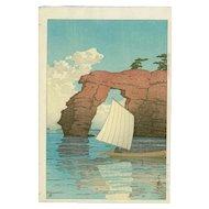 Kawase Hasui - Zaimoku Island, Matsushima - Japanese Woodblock Print (Wood block print, woodcut)