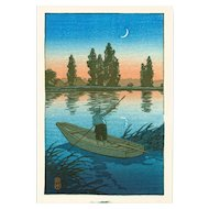 Kawase Hasui - Fisherman at Sunset - Japanese Woodblock  Print (Woodcut)