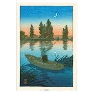 Kawase Hasui - Fisherman at Sunset - Japanese Woodblock  Print (Woodcut)
