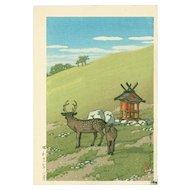 Kawase Hasui - Deer at Kasuga Shrine - Japanese Woodblock Print (Wood block print, woodcut)
