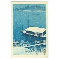 Kawase Hasui - Snow at Arakawa - Japanese Woodblock Print (Woodcut)