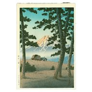 Kawase Hasui - Evening at Tagonoura - Japanese Woodblock Print (Woodcut)
