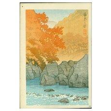Kawase Hasui - Autumn Shiobara - Japanese Woodblock Print (Woodcut)