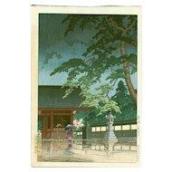 Kawase Hasui  - Spring Rain at Gokokuji - Japanese Woodblock Print (Wood block print, woodcut)