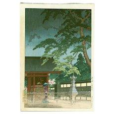 Kawase Hasui  - Spring Rain at Gokokuji - Japanese Woodblock Print