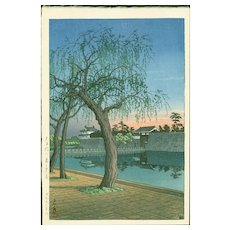 Hasui Kawase - Spring Evening, Ote Gate- First Edition Japanese Woodblock Print
