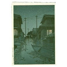 Hasui Kawase - First Edition Japanese Woodblock Print - Evening Rain in Kawarago