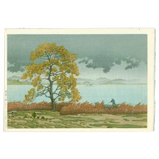 Hasui Kawase - Lakeside Shower, Matsue - Japanese Woodblock Print  (Wood block print, woodcut)