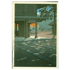 Kawase Hasui   Heirin Temple -First Edition Japanese Woodblock Print  (Wood block print, woodcut)
