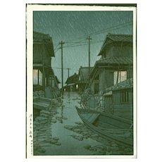 Hasui Kawase - Evening Rain In Kawarago - First Edition Japanese Woodblock Print (Wood block print, woodcut)