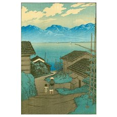 Kawase Hasui Pre-Earthquake Japanese Woodblock Print - Kamoson Village, Sado - 1921 RARE