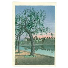Hasui Kawase - Spring Evening, Ote Gate - 1st Edition Japanese Woodblock Print