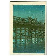 Kawase Hasui - Uji Bridge - Japanese Woodblock Print (Woodcut)