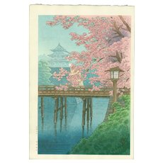 Ito Yuhan - Cherry Blossoms and Castle - Japanese Woodblock Print (Woodcut)