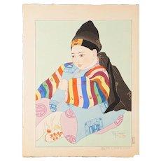 Paul Jacoulet - Korean Baby - Japanese Woodblock Print  (Wood block print, woodcut)