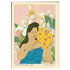 Paul Jacoulet - White Orchids, Jaluit - Japanese Woodblock Print