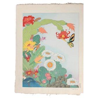 Paul Jacoulet - Cactus, South Seas - Japanese Woodblock Print