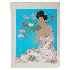 Paul Jacoulet  - Spray of Anthurium Flowers, Angur, South Seas - Japanese Woodblock Print