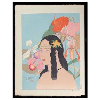 Paul Jacoulet - Une Belle De Palaos - Japanese Woodblock Print -