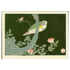 Jakuchu Ito - Bird and Rose - Japanese Woodblock Print