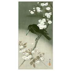 Imao Keinen - Crow and Flowering Cherry - Japanese Woodblock Print  (Wood block print, woodcut)