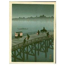 Shoda Koho - Ohashi Bridge - Hasegawa Night Japanese Woodblock Print
