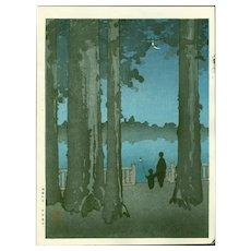 Shoda Koho - Ueno Park - Hasegawa Night Scene Japanese Woodblock Print