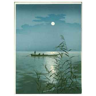 Shoda Koho - Moonlit Sea (Clouds) Hasegawa Night Scene Japanese Woodblock Print
